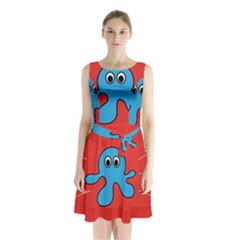 Creature Forms Funny Monster Comic Sleeveless Chiffon Waist Tie Dress