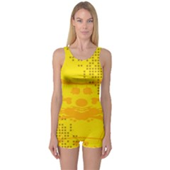 Texture Yellow Abstract Background One Piece Boyleg Swimsuit