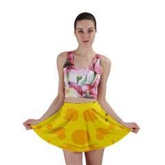 Texture Yellow Abstract Background Mini Skirt
