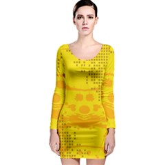 Texture Yellow Abstract Background Long Sleeve Bodycon Dress