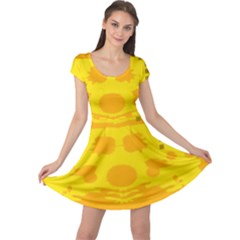 Texture Yellow Abstract Background Cap Sleeve Dresses