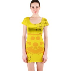 Texture Yellow Abstract Background Short Sleeve Bodycon Dress