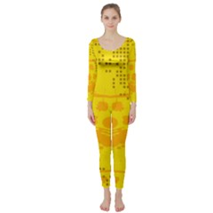 Texture Yellow Abstract Background Long Sleeve Catsuit