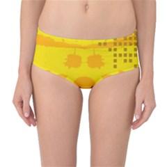 Texture Yellow Abstract Background Mid-Waist Bikini Bottoms