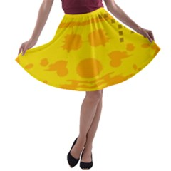 Texture Yellow Abstract Background A Line Skater Skirt