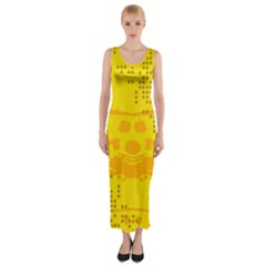 Texture Yellow Abstract Background Fitted Maxi Dress