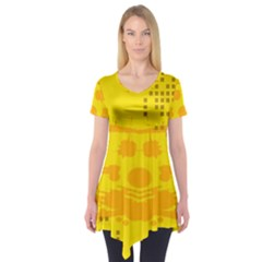 Texture Yellow Abstract Background Short Sleeve Tunic