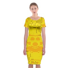 Texture Yellow Abstract Background Classic Short Sleeve Midi Dress