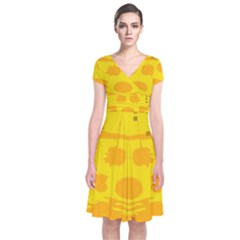 Texture Yellow Abstract Background Short Sleeve Front Wrap Dress