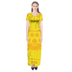 Texture Yellow Abstract Background Short Sleeve Maxi Dress