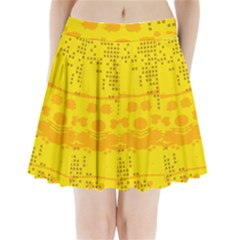 Texture Yellow Abstract Background Pleated Mini Skirt