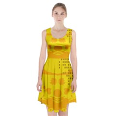 Texture Yellow Abstract Background Racerback Midi Dress