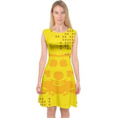 Texture Yellow Abstract Background Capsleeve Midi Dress