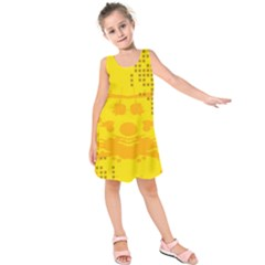Texture Yellow Abstract Background Kids  Sleeveless Dress