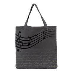 Music Clef Background Texture Grocery Tote Bag