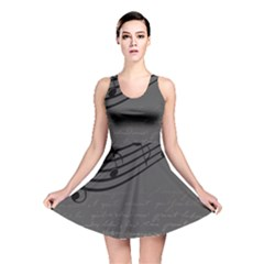 Music Clef Background Texture Reversible Skater Dress