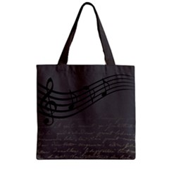 Music Clef Background Texture Zipper Grocery Tote Bag