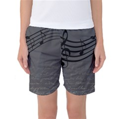 Music Clef Background Texture Women s Basketball Shorts