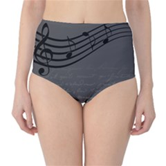 Music Clef Background Texture High-Waist Bikini Bottoms