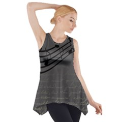 Music Clef Background Texture Side Drop Tank Tunic