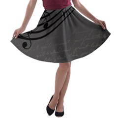 Music Clef Background Texture A-line Skater Skirt
