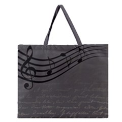 Music Clef Background Texture Zipper Large Tote Bag