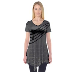 Music Clef Background Texture Short Sleeve Tunic