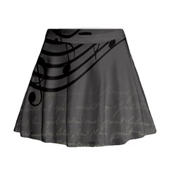 Music Clef Background Texture Mini Flare Skirt