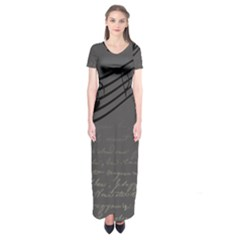 Music Clef Background Texture Short Sleeve Maxi Dress