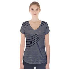 Music Clef Background Texture Short Sleeve Front Detail Top