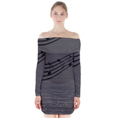Music Clef Background Texture Long Sleeve Off Shoulder Dress