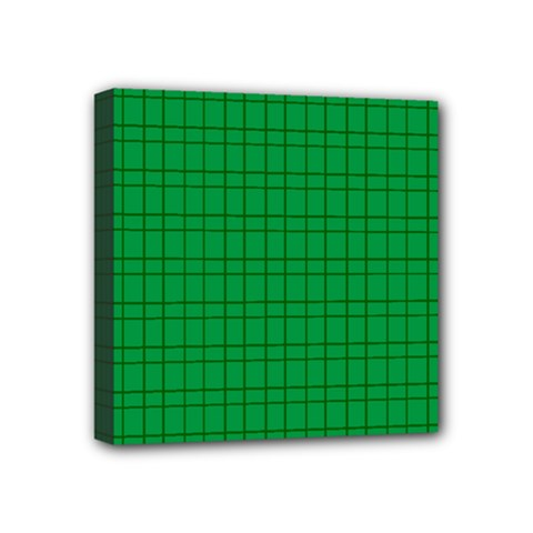 Pattern Green Background Lines Mini Canvas 4  x 4