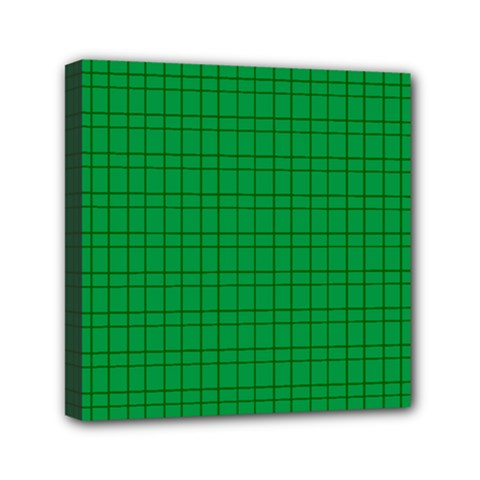 Pattern Green Background Lines Mini Canvas 6  x 6