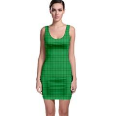 Pattern Green Background Lines Sleeveless Bodycon Dress