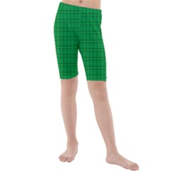 Pattern Green Background Lines Kids  Mid Length Swim Shorts