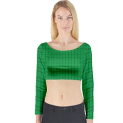 Pattern Green Background Lines Long Sleeve Crop Top