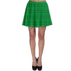 Pattern Green Background Lines Skater Skirt
