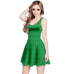 Pattern Green Background Lines Reversible Sleeveless Dress