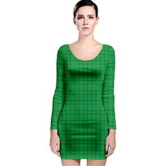 Pattern Green Background Lines Long Sleeve Bodycon Dress