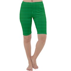 Pattern Green Background Lines Cropped Leggings