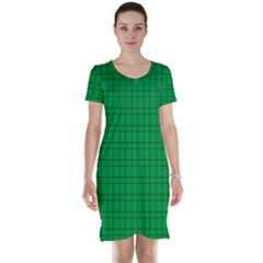 Pattern Green Background Lines Short Sleeve Nightdress