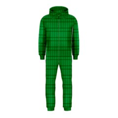 Pattern Green Background Lines Hooded Jumpsuit (Kids)