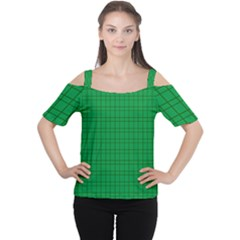 Pattern Green Background Lines Women s Cutout Shoulder Tee