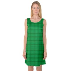 Pattern Green Background Lines Sleeveless Satin Nightdress