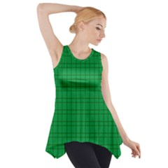 Pattern Green Background Lines Side Drop Tank Tunic