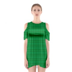 Pattern Green Background Lines Shoulder Cutout One Piece