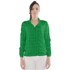 Pattern Green Background Lines Wind Breaker (Women)
