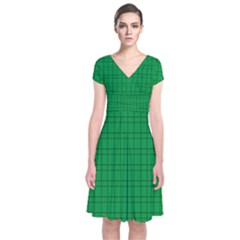 Pattern Green Background Lines Short Sleeve Front Wrap Dress