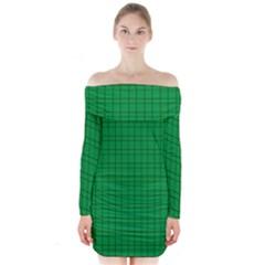 Pattern Green Background Lines Long Sleeve Off Shoulder Dress