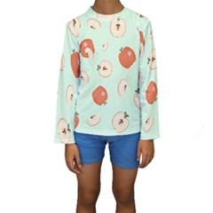 Apple Fruit Background Food Kids  Long Sleeve Swimwear